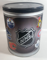 "2007 NHL Ice Hockey Canadian Team Logos Houston Harvest Popcorn 11"" Tall Round Steel Canister - Empty"