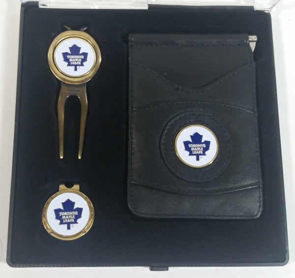 Toronto Maple Leafs NHL Ice Hockey Golf Golfing Ball Marker, Hat Clip, and Leather Money Clip Set in Case