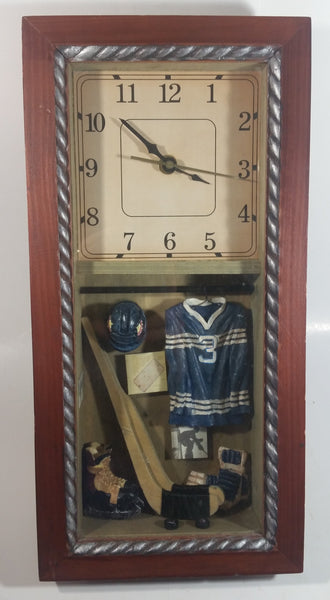 Detailed Ice Hockey Equipment Wood Framed Shadow Box Clock