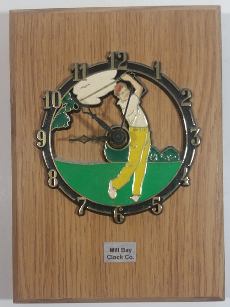 "Mill Bay Clock Co. Golfer Golf Golfing Wooden 5"" x 7"" Clock"