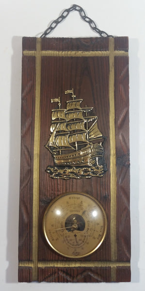 Vintage Fisher Tall Ship Boat Nautical Themed Rustic Wood Plank Barometer with Chain Hanger Weather Collectible Made in France