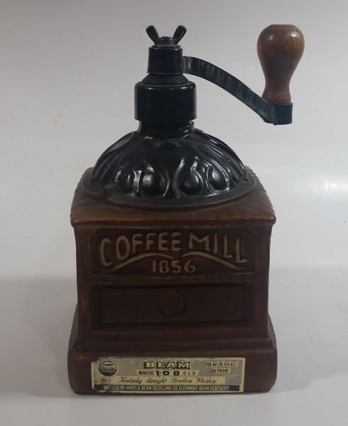 "Vintage 1979 Jim Beam Kentucky Whiskey Coffee Mill 1856 Grinder Themed Regal China Liquor Decanter 750mL 8"" Tall"