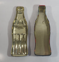 2003 Coca-Cola Coke Soda Pop Bottle Shaped Embossed Tin Container
