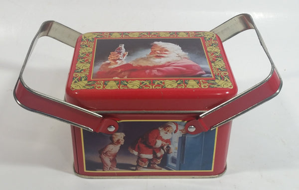 1993 Coca Cola Coke Soda Pop Christmas Santa Themed Picnic Basket Tin Metal Container with Handles