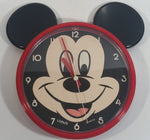 "Vintage Disney Mickey Mouse 8"" Diameter Lorus Quartz Clock with Ears Cartoon Collectible"