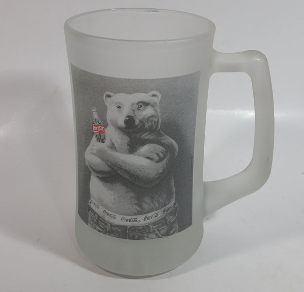 "Coca-Cola Coke Soda Pop Polar Bear in Jeans 6 3/4"" Tall Heavy Frosted Glass Mug"