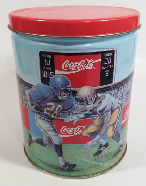 "1994 Coca-Cola Coke Soda Pop Basketball, Football, Baseball Sports Themed 6"" Tall Tin Metal Canister"