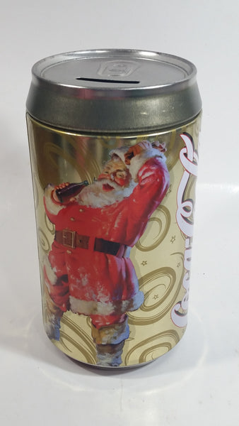 "Zellers Holiday Joy Coca-Cola Coke Soda Pop Christmas Santa Themed 7 3/4"" Tall Can Shaped Metal Coin Bank"