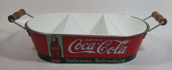 Drink Coca-Cola Coke Delicious Refreshing 3 Compartment Plastic Insert Metal Serving Tray with Wooden Handles