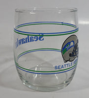 "Seattle Seahawks NFL Football Sports Team Helmet Graphics Blue Green Lined 3 1/2"" Tall Glass Drinking Cup"
