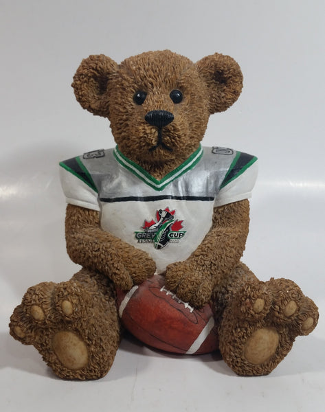 "Very Hard To Find CFL Canadian Football League Grey Cup Championship Regina 2003 #03 Saskatchewan Roughriders 6 1/2"" Tall Resin Teddy Bear Coin Bank Sports Team Collectible"