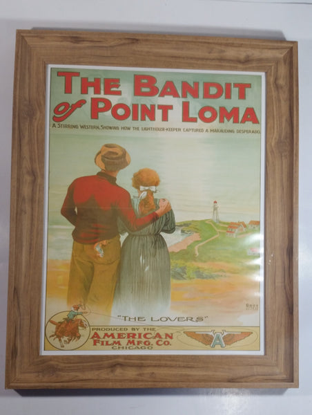 "Vintage 1912 ""The Bandit of Point Loma"" Short Antique Early Movie Film ""The Lovers"" 17"" x 21"" Wood Framed Litho Art Print Poster American Film Mfg. Co. Chicago"