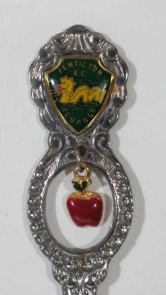 Penticton, British Columbia, Canada Enamel Ogopogo Metal Spoon with Red Apple Charm