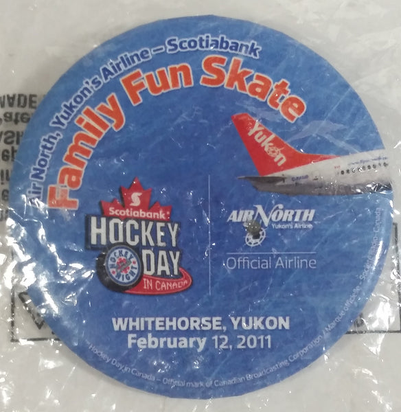 "2011 CBC Hockey Day In Canada Air North NHL Ice Hockey Yukon Whitehorse Round Circular 2"" Button Pin Souvenir Travel Collectible In Packaging"