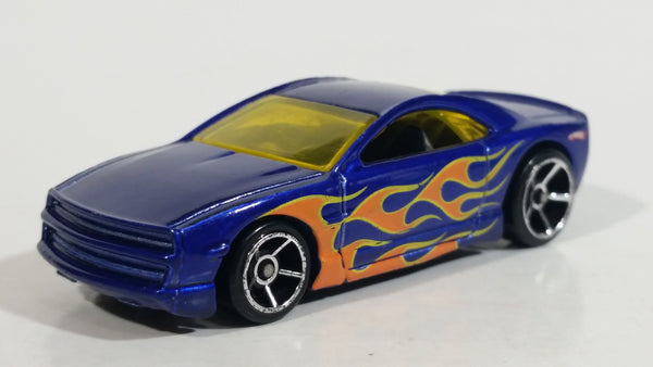 2009 Hot Wheels Trick Tracks Speed Hill Muscle Tone Metalflake Blue w/ Flames Die Cast Toy Car Vehicle