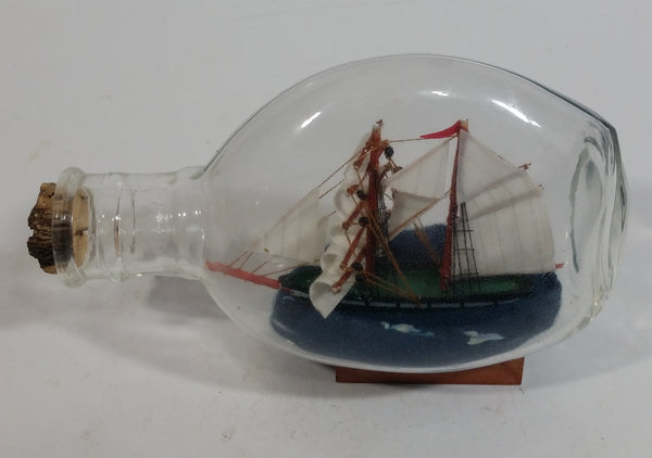 "Vintage Highly Detailed Miniature Ship in Cork Top 5 1/4"" Long Glass Bottle"