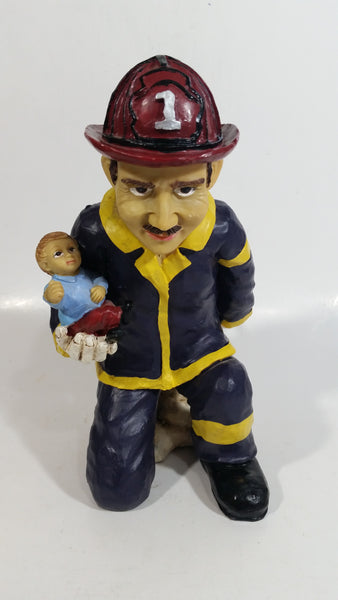 "Fireman Firefighter Holding A Young Child Heavy Wine Bottle Holder Sculpture 9 1/2"" Tall"