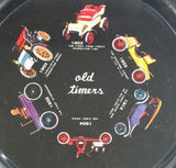 "Vintage Old Timers Antique Classic Cars Round Metal Beverage Serving Tray 11"" Diameter"
