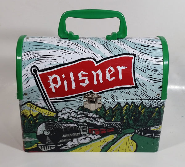 "Rare Very Hard to Find Pilsner Beer with Train Locomotive Themed Metal Lunch Box Container 8 3/4"" Wide"