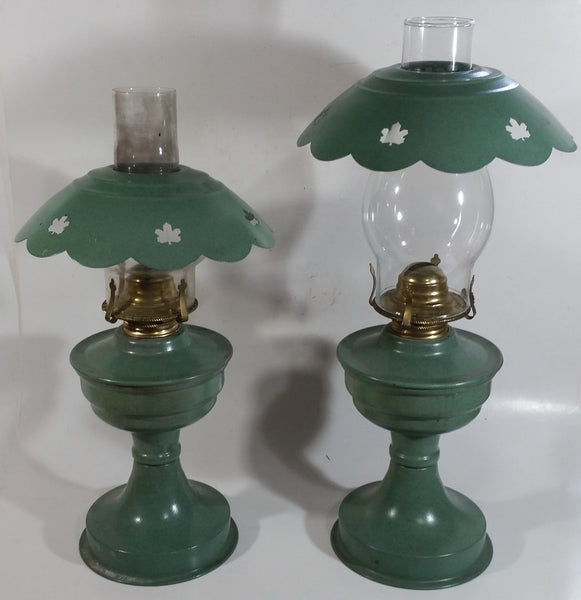 "Set of 2 Vintage Dietz Kerosene Oil Lantern Lamp Green with Maple Leaf Theme 17"" Tall and 15"" Tall"