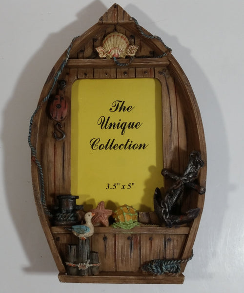 "The Unique Collection Wooden Boat Ocean Themed 3 1/2"" x 5"" Resin Picture Photo Frame"