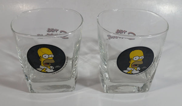 "Set of 2 2010 Fox The Simpsons Home Simpson Carton Character Themed Black Themed 3 1/2"" Tall Whisky Glass Cup"