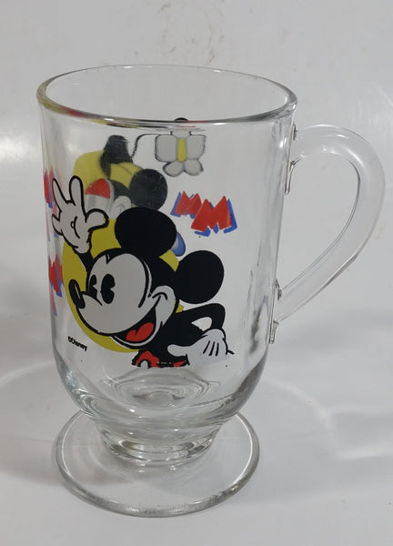 "Disney Mickey Mouse and Minnie Mouse 5"" Tall Clear Pedestal Glass Cup with Handle"