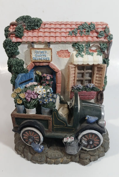 Figi Graphics Flower Shoppe Deliveries Highly Detailed Resin Building with Car Single Book End