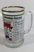 "Vintage Style 1981 Edmonton Journal Newspaper ""Kid is King!"" Wayne Gretzky NHL Ice Hockey Player Gold Rimmed Glass Beer Mug"