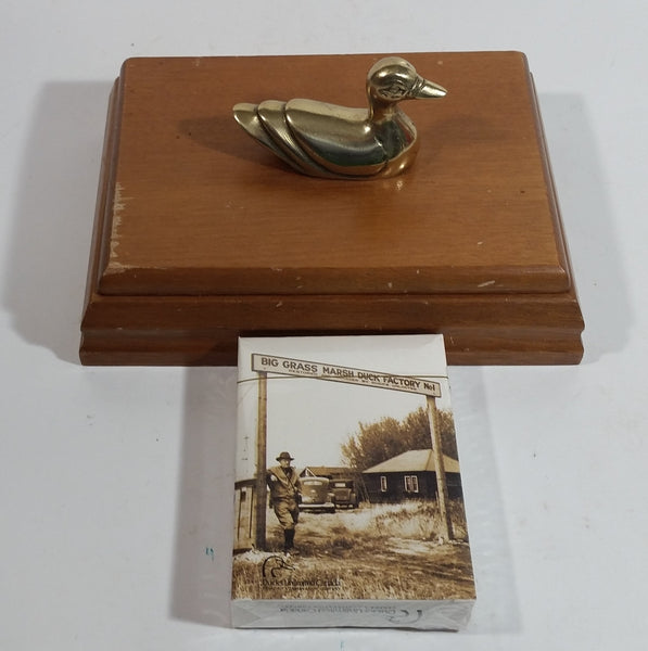 Ducks Unlimited Single Pack of Playing Cards In Wooden Box with Bronze Duck Decoy On Top