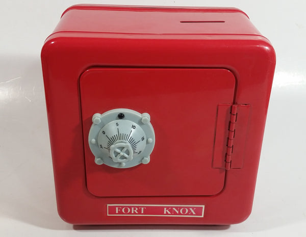 Fort Knox Combination Lock Safe Shaped Red Steel Coin Bank Collectible