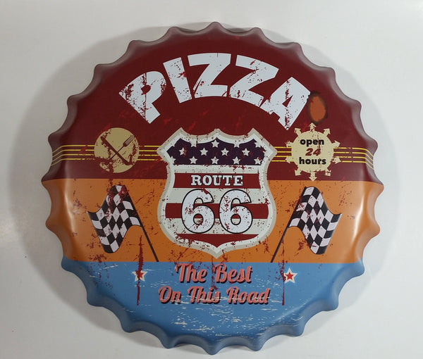 "Route 66 Pizza The Best On The Road Open 24 Hours 16"" Diameter Metal Tin Bottle Cap Shaped Embossed Sign"