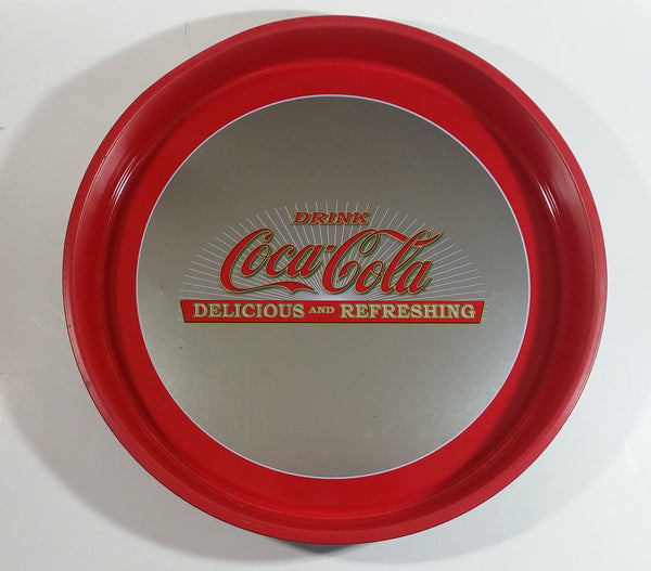 "Drink Coca-Cola Delicious and Refreshing Coke Soda Pop 13"" Diameter Round Metal Beverage Serving Tray"