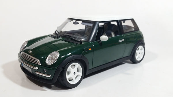 2001 Burago Mini Cooper Dark Green with White Roof 1/18 Scale Die Cast Toy Car Vehicle with Opening Doors, Hood, and Hatch Made in Italy