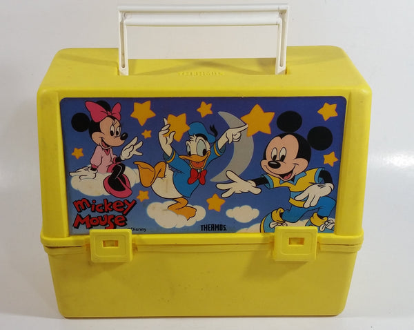 Disney Mickey Mouse Minnie Mouse Donald Duck Cartoon Characters Stars and Moon Themed Thermos Brand Yellow Lunch Box