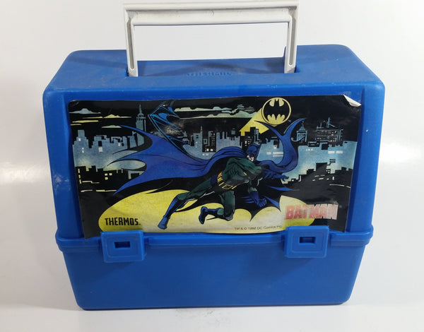 1992 DC Comics Batman Superhero Character Themed Thermos Brand Blue Lunch Box