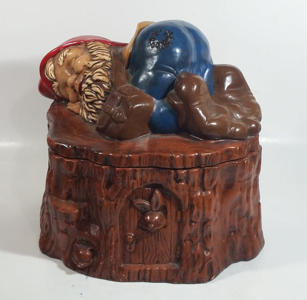 Vintage 1970s Gnome Dwarf Sleeping on a Tree Stump House with Fawn Peaking Through Door Ceramic Cookie Jar