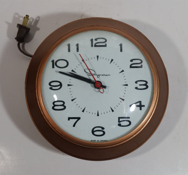 "Retro Mid-Century Ingraham 7"" Round Electric Plug In Wall Clock Toronto, Canada - Working"