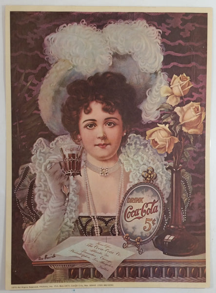 "Vintage 1975 Hickory Inc. Carson City, Nevada Coca-Cola Coke Woman Drinking Coke Laminated Art Print Poster 9 1/2"" x 14"""