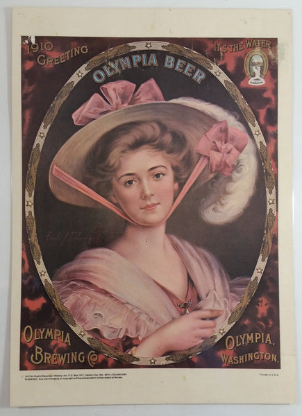 "Vintage 1977 Hickory Inc. Carson City, Nevada Olympia Brewing Company Beer Advertising Woman In Pink Laminated Art Print Poster 9 1/2"" x 14"""