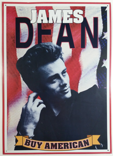 "James Dean Actor Buy American Poster 12 1/2"" x 17 1/2"" Tin Metal Sign Hollywood Movies Collectible"