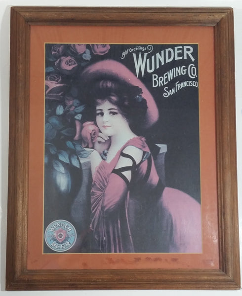"Vintage 1975 Wunder Brewing San Francisco Beer Advertising Poster Wood Framed 16 1/2"" x 13 1/4"""