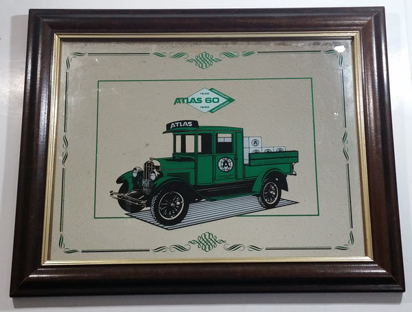 "1990 Atlas Supply Company 60th Anniversary 1930 - 1990 Green Delivery Truck Wooden Framed Glass Mirror Advertisement Automotive Collectible 19"" x 15"""