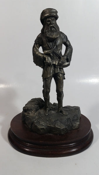 "Rare Vintage 1977 LaRocca Mountain Man Pewter 9 1/2"" Tall Figure Sculpture on Wood Base"