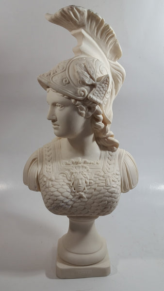 "Greek Mythology Goddess Athena Aohna 14 1/2"" Tall Solid Alabaster Head Bust Sculpture"