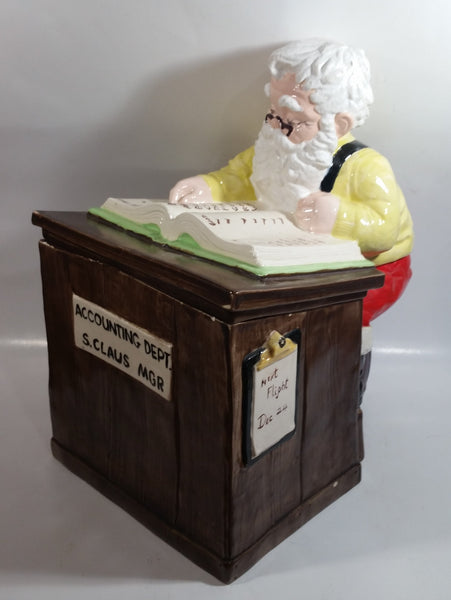 "Vintage Christmas Themed Santa Accounting Dept S. Clause MGR 13"" Tall Ceramic Cookie Jar"