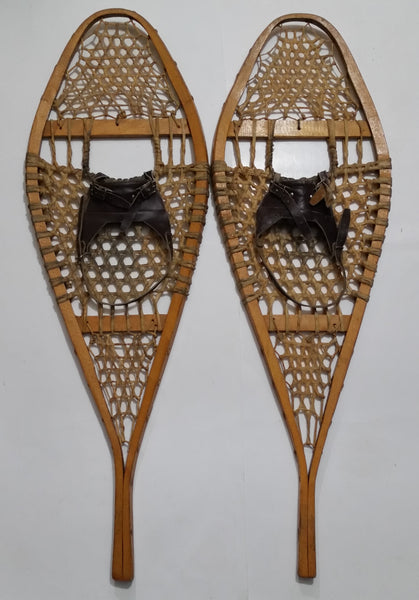 Vintage Authentic Wood Rawhide Snow Shoes Set with Leather Boot Straps