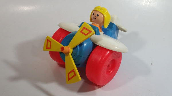 1980 Fisher Price Toys 171 Airplane Pilot Pull Toy With Rotating Propeller When It Moves Made in U.S.A.