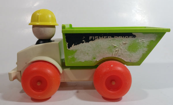 "Vintage 1970 Fisher Price #156 Jiffy Dump Truck Air Pump Plastic Toy Car Vehicle 9"" Long"