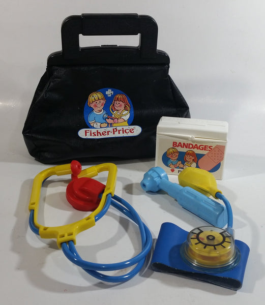 Vintage Fisher Price Doctor Bag Medical Kit Toy Set with Multiple Accessories and Tools Made in Italy